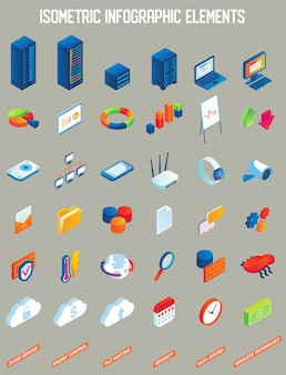 Data center vector isometric infographic elements
