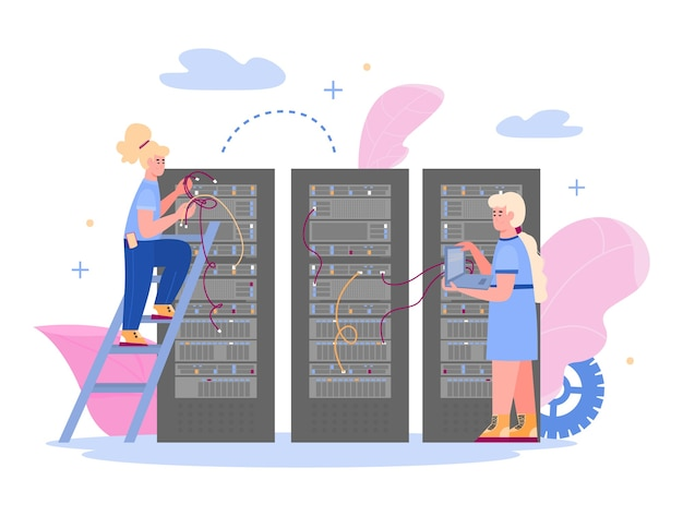 직원이 호스팅 서버를 유지 관리하는 데이터 센터