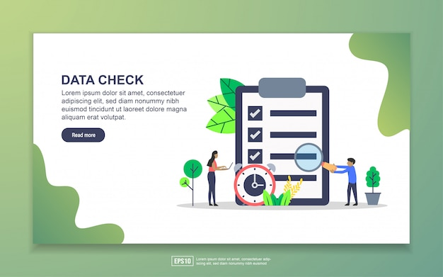 Data check with tiny people character landing page