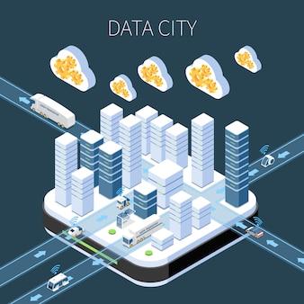 Изометрическая композиция данных города с серверной инфраструктурой облачных сервисов и передачей информации в темноте