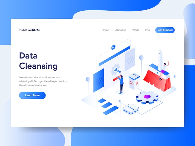 Data cleansing isometric for website page