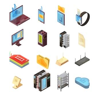 파일, 전송 정보, 컴퓨터 및 모바일 장치, 서버, 라우터 격리 된 벡터 일러스트와 함께 데이터 클라우드 아이소 메트릭 세트