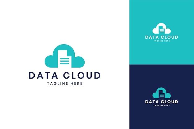 データクラウドネガティブスペースのロゴデザイン