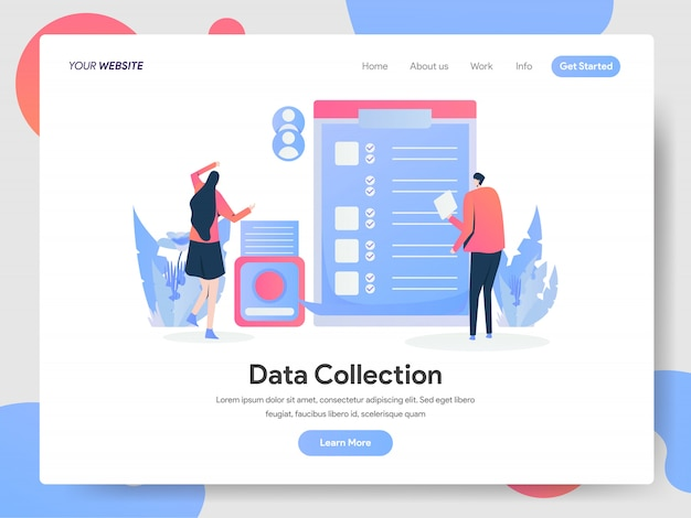 Data collection banner of landing page
