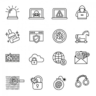 Data, computer and cyber security icon set