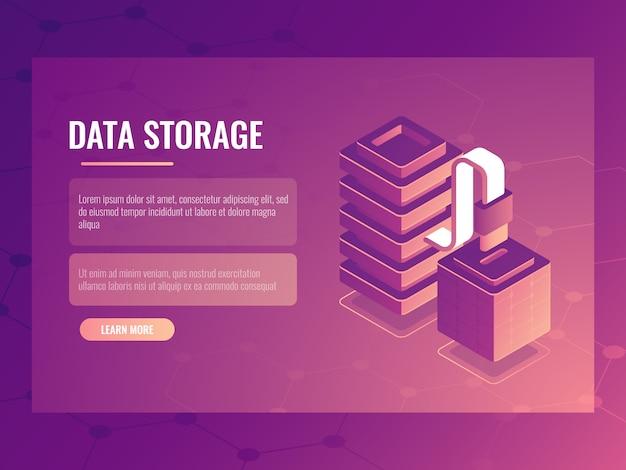 Изометрическая концепция подключения и передачи данных, серверная комната, доступ к базе данных