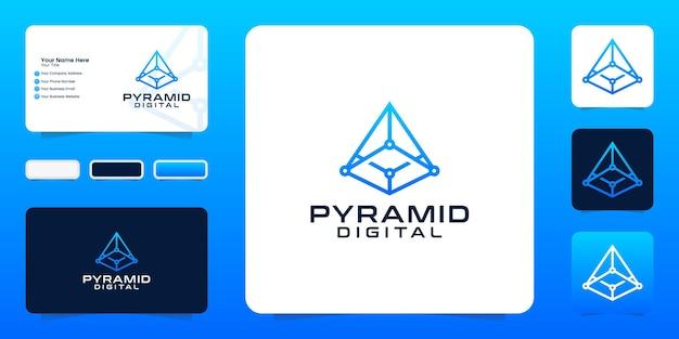데이터 연결 기술 피라미드 영감 로고 및 명함