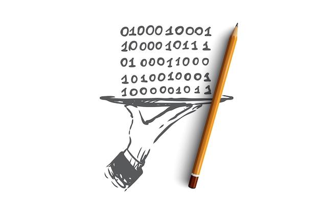 データ、デジタル、抽象、コード、バイナリの概念。プレートのコンセプトスケッチに0と1の手描き数字。