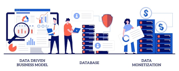 Бизнес-модель, управляемая данными, база данных, концепция монетизации данных с помощью крошечных людей. набор данных бизнес-стратегии иллюстрации. принятие решений, хранение информации, метафора службы анализа.