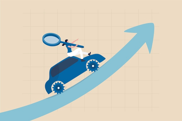 Data driven marketing using technology information to drive sell or advertising campaign, tracking user behavior analysis concept, woman marketer hold magnifying glass on data driven car growth graph.