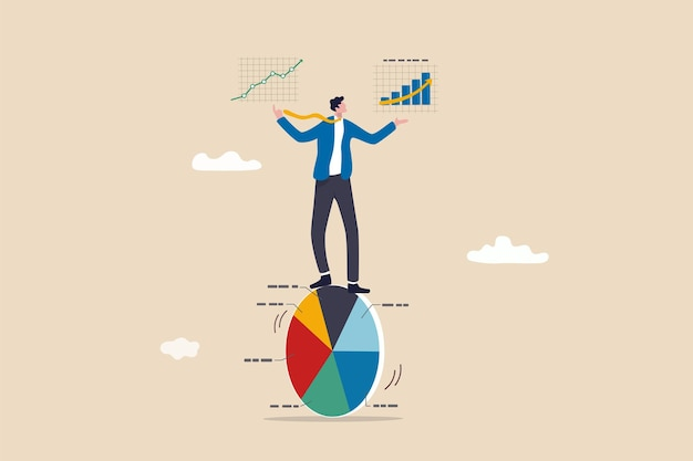 Data driven with analytics research, ads optimization based on user or customer behavior, statistics to improve sales, smart businessman balance and control pie chart with analytics data in hands.