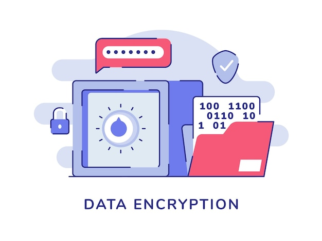 Data encryption vault bank password number file white isolated background