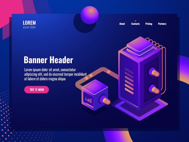 Data filter isometric icon, web hosting, server room, datacenter cloud storage, database and big data