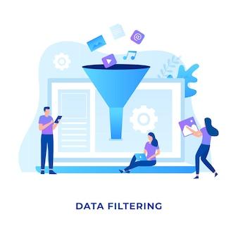ウェブサイトのデータフィルタリングイラストの概念
