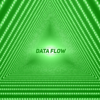 Data flow background with triangular tunnel