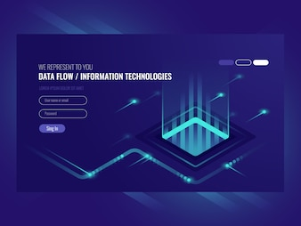 Data flow concept, information technologies, concept of hi tech
