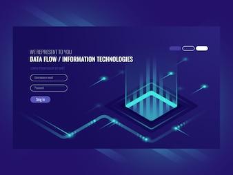 データフローの概念、情報技術、ハイテクの概念