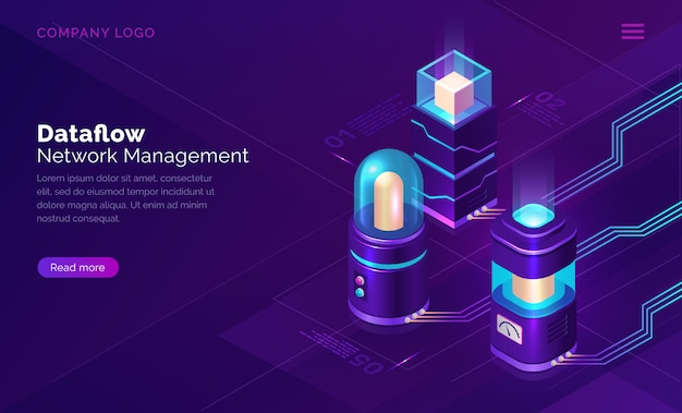 Data flow, network manager isometric concept