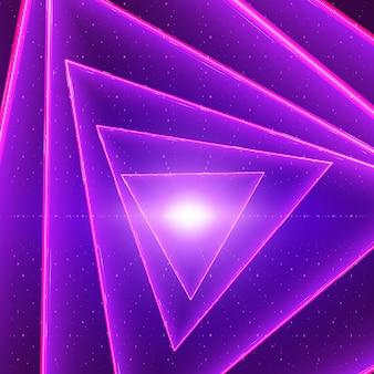 データフローの視覚化の背景。バイナリ文字列としての紫色のビッグデータフローの三角形の光るツイストトンネル。