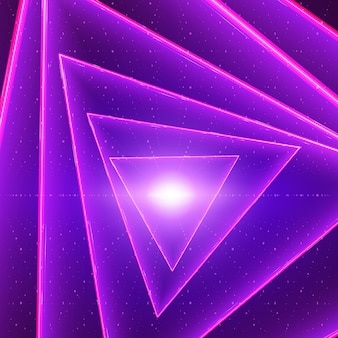 Data flow visualization background. triangle glowing twisted tunnel of violet big data flow as binary strings.