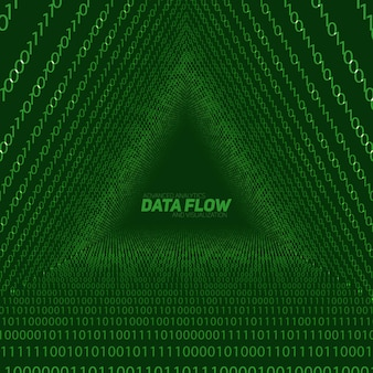 Data flow visualization background. triangle tunnel of green big data flow