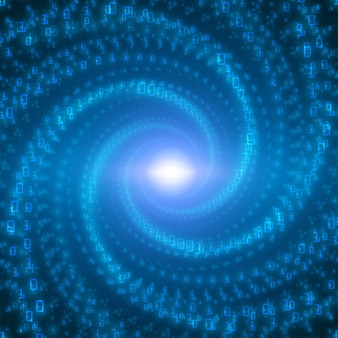 データフローの視覚化。無限トンネルでねじれた2進数の文字列としての青いビッグデータフロー。情報コードストリーム表現。暗号化分析。ビットコインブロックチェーン転送。