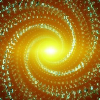 Визуализация потока данных. зеленый поток больших данных в виде строк двоичных чисел, закрученных в бесконечный туннель. представление потока информационного кода. криптографический анализ. передача биткойн-блокчейна.