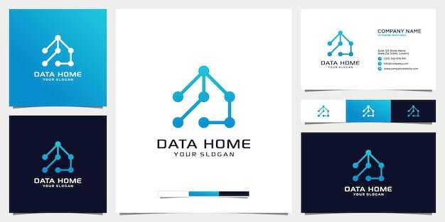 데이터 홈 기술 로고 디자인 템플릿 및 명함