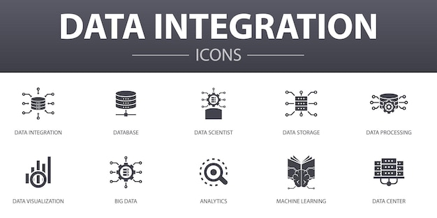 Data integration simple concept icons set. contains such icons as database, data scientist, analytics, machine learning and more, can be used for web, logo, ui/ux