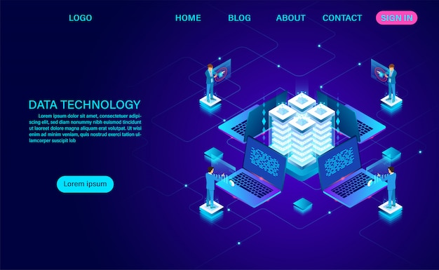 Data landing page service and big data processing protecting data security concept. digital information. isometric. cartoon vector