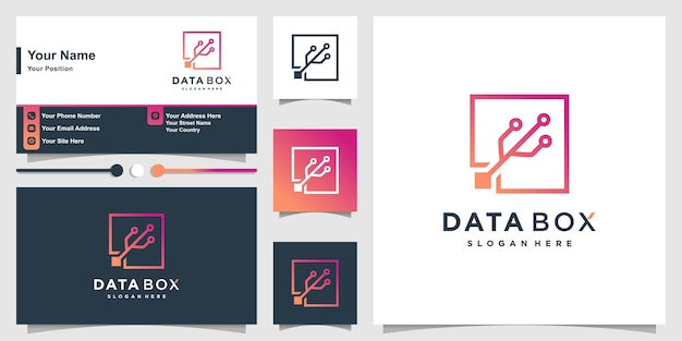 モダンなスクエアラインアートスタイルと名刺セットのデータロゴ