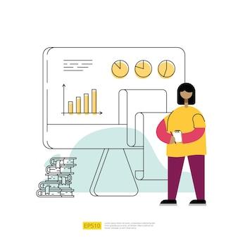 Управление данными и отчет с графической диаграммой на экране пк и иллюстрацией персонажей. концепция науки о больших данных с плоским стилем