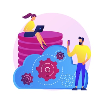 Gestione dei dati. torre di database collettiva. le persone condividono luoghi comuni. mainframe centralizzato, informazioni diffuse, file archiviati. regolamento personalizzato. illustrazione della metafora del concetto isolato.