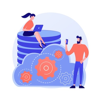 Data management. collective database tower. people share commonplace. centralized mainframe, widespread info, stored files. custom regulation. vector isolated concept metaphor illustration.