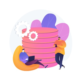 Gestione dati. torre di database collettiva. le persone condividono luoghi comuni. mainframe centralizzato, informazioni diffuse, file archiviati. regolamento personalizzato. illustrazione della metafora del concetto isolato di vettore.
