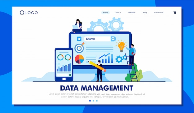Data management landing page illustration template