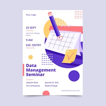 Data management seminar flyer template