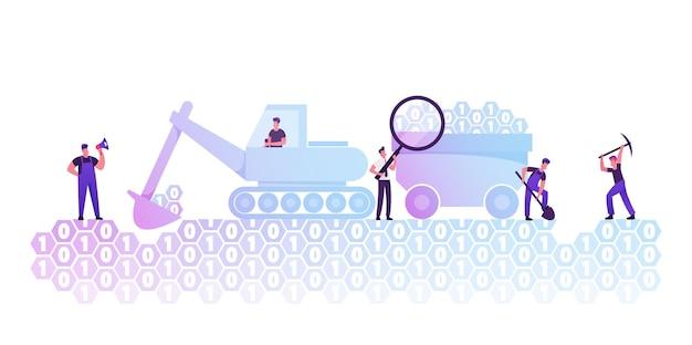 데이터 마이닝 개념. 만화 평면 그림