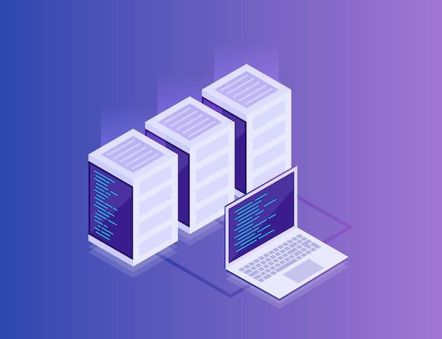 データネットワーク管理。ビジネスネットワークサーバーとラップトップの等尺性マップ。クラウドストレージデータと同期デバイス。3dアイソメ図スタイル。現代の小話