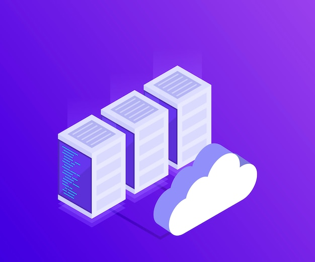 Управление сетью передачи данных. изометрические карта с бизнес-сетевыми серверами. облачное хранилище данных и устройства синхронизации.3d в изометрическом стиле. современная иллюстрация
