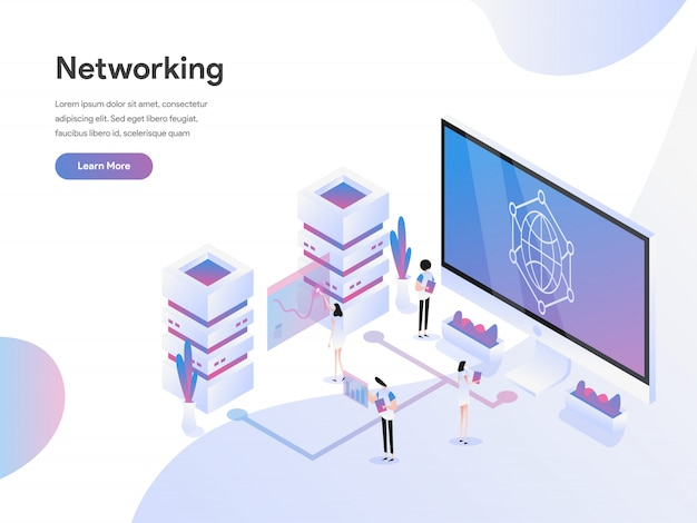 Data networking isometric illustration concept