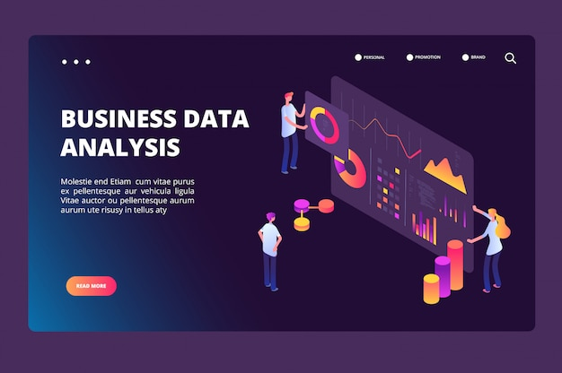 Data optimization isometric concept. person with analysis analytics chart. business technology, market positioning vector landing page