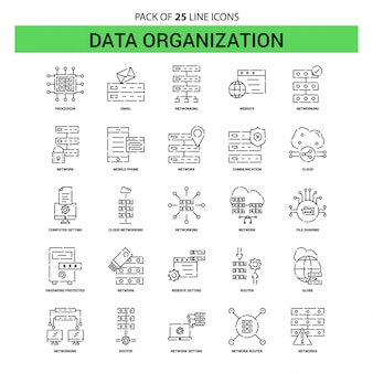 Data organization line icon set - 25 dashed outline style