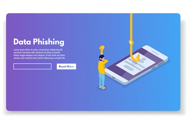 Data phishing isometric, hacking online scam. fishing by email, envelope and hook. cyber thief. vector illustration.