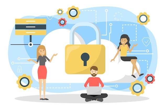 データプライバシーの概念。使用中の安全と保護の考え方
