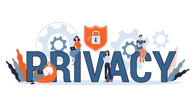 Data privacy concept. idea of safety and protection while using internet for communication. firewall, lock and information security. computer guard.  illustration