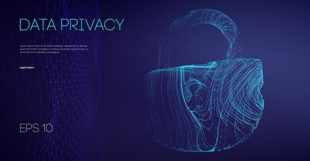 データプライバシー政府ソフトウェア。電子メールサーバーのハッカーガードデータ。セキュリティクラウドデータ攻撃。ベクトルイラスト。