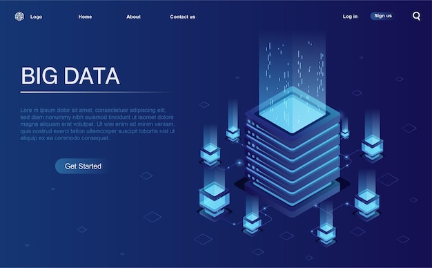 Data processing center network or mainframe infrastructure website header layout isometric