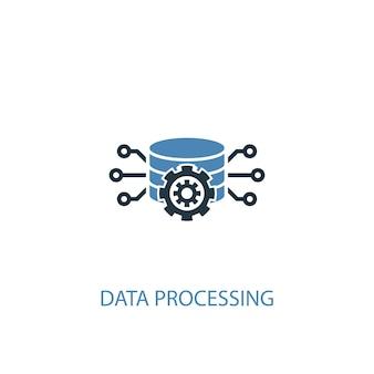 Концепция обработки данных 2 цветных значка. простой синий элемент иллюстрации. дизайн символа концепции обработки данных. может использоваться для веб- и мобильных ui / ux