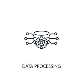 Значок линии концепции обработки данных. простая иллюстрация элемента. дизайн символа структуры концепции обработки данных. может использоваться для веб- и мобильных ui / ux
